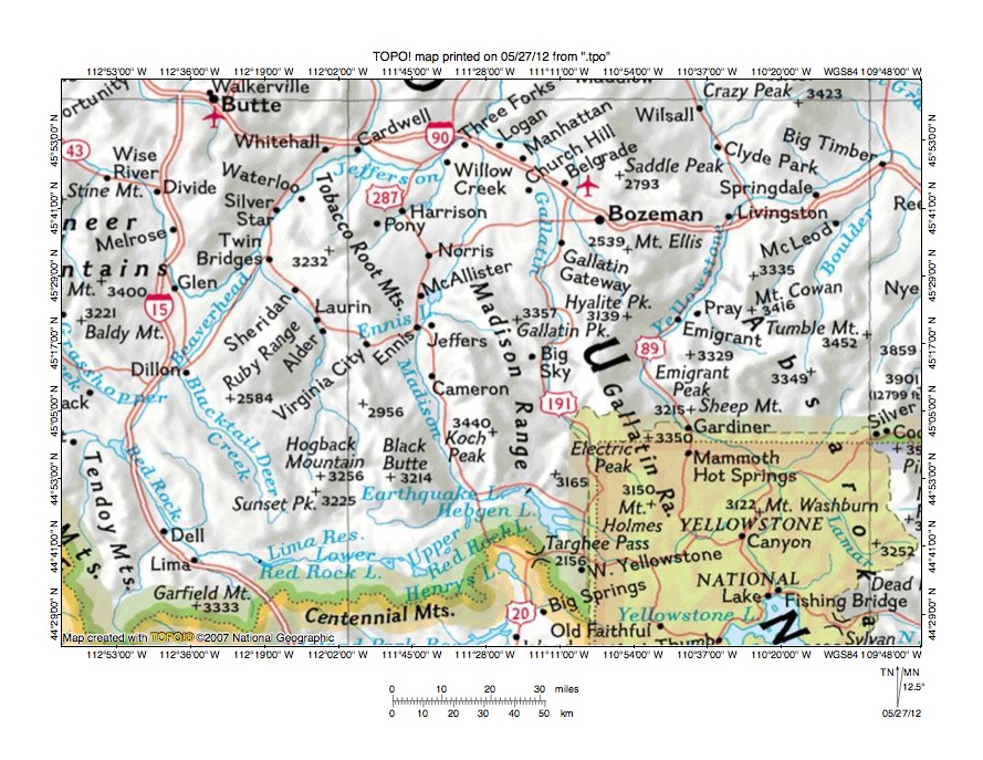 Madison River Montana Map.Madison River Gallatin River Drainage Divide Area Landform Origins