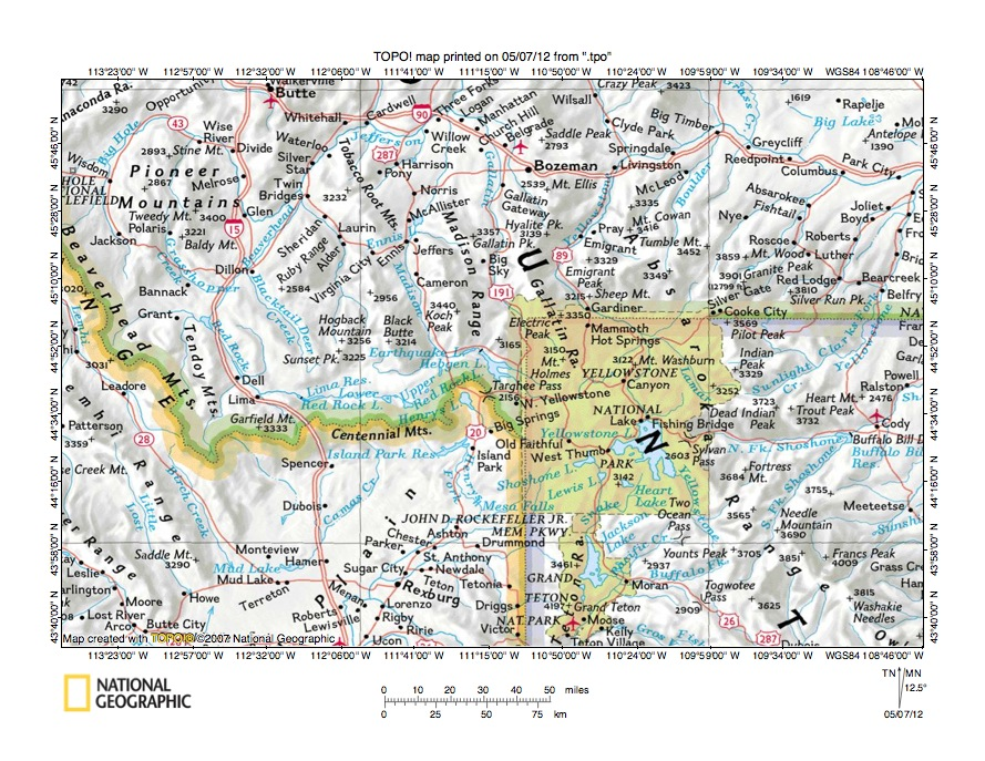 Madison River Montana Map.Madison River Henrys Fork Drainage Divide Area Landform Origins