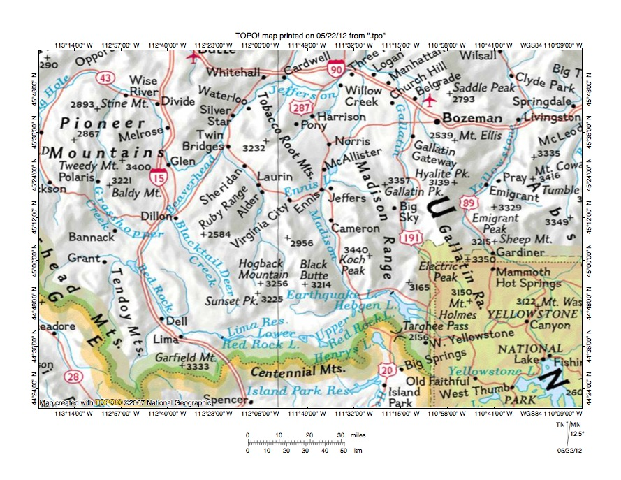 Madison River Montana Map.Ruby River Madison River Drainage Divide Area Landform Origins In