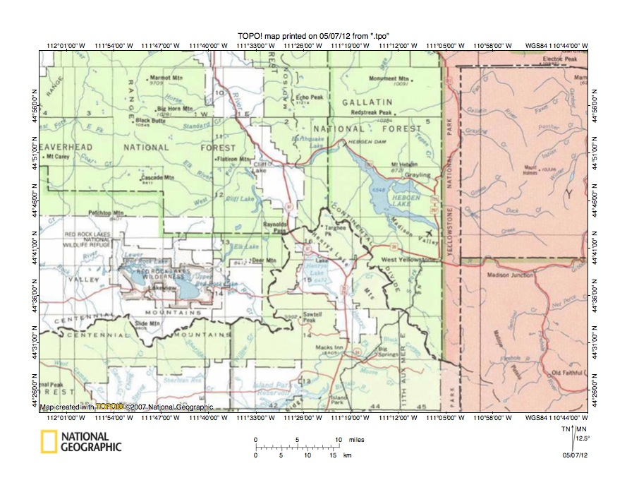 Madison RiverHenrys Fork Drainage Divide Area Landform