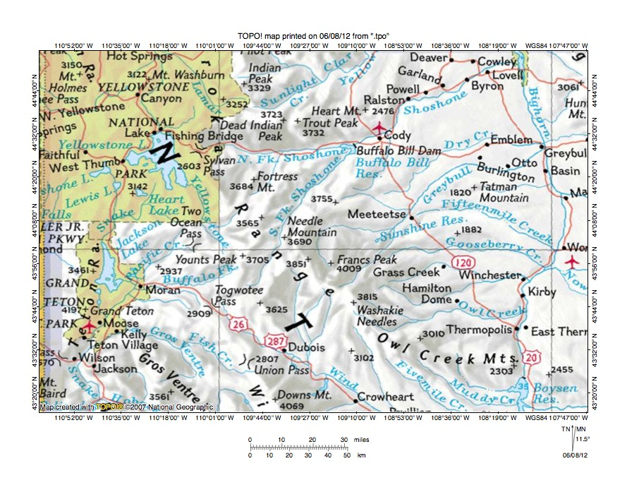Yellowstone Riverpacific Creek Drainage Divide Area Landform: Landforms Of The Pacific Northwest Map At Usa Maps