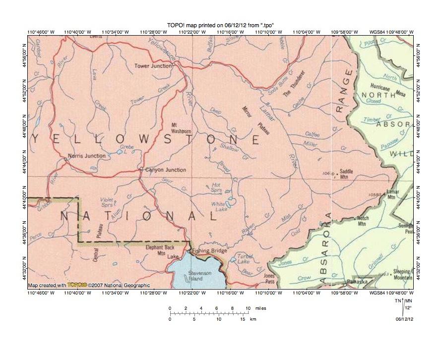 Yellowstone RiverLamar River Drainage Divide Area Landform - Yellowstone river on us map