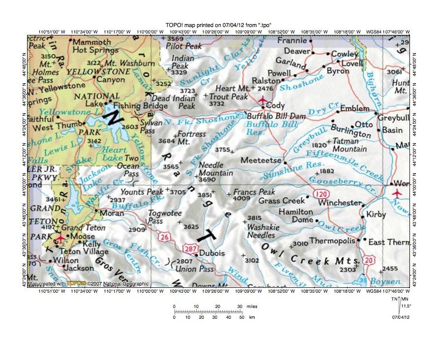 South Fork Shoshone River Snake River Drainage Divide Area Landform