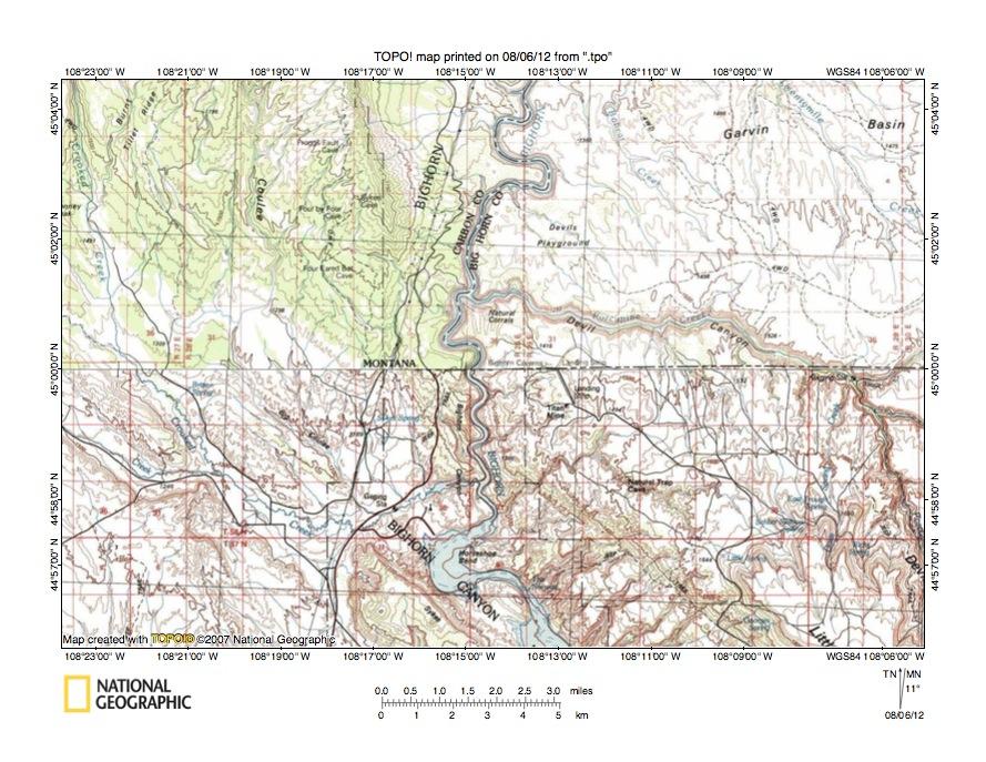 Bighorn River Little Bighorn River drainage divide area landform origins in t