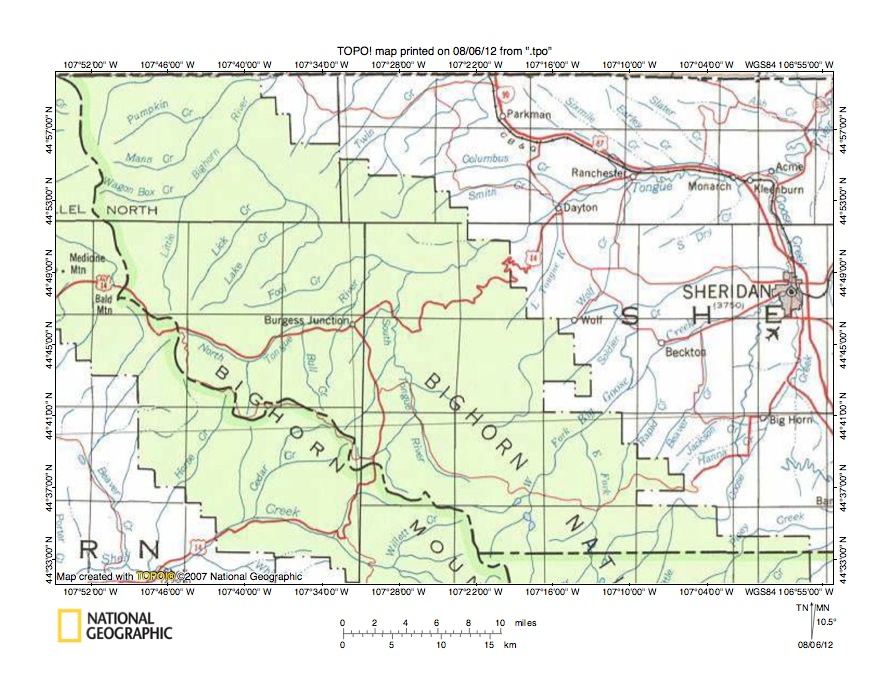 tongue river wyoming map Tongue River Goose Creek Drainage Divide Area Landform Origins In