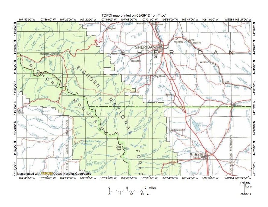 Goose CreekPiney Creek drainage divide area landform origins in the