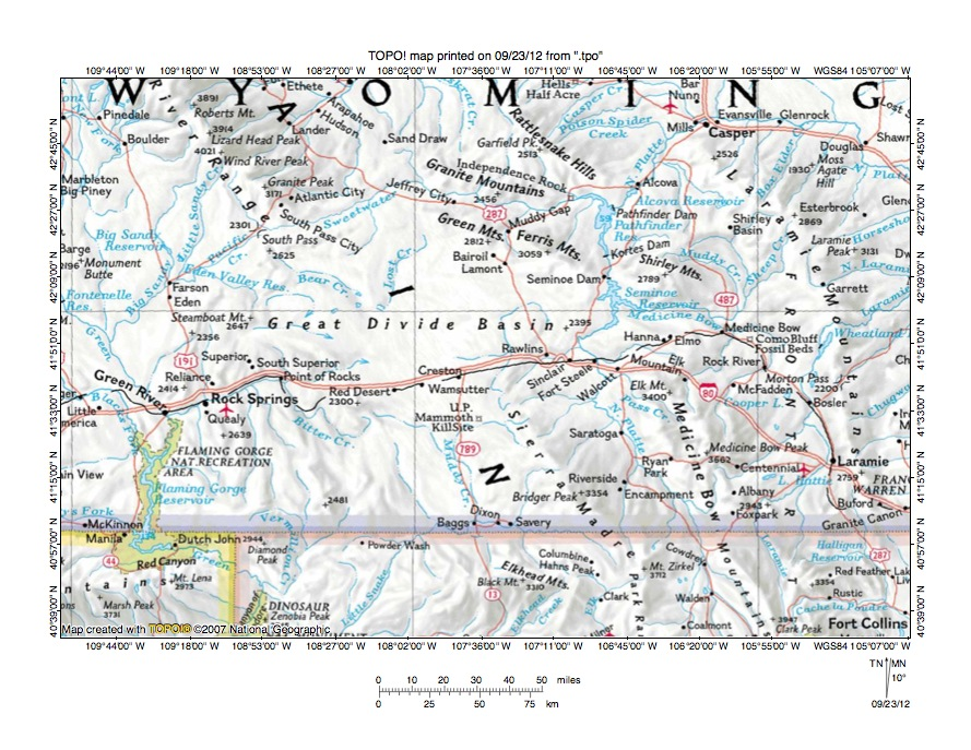 Sweetwater River Great Divide Basin Drainage Divide Area Landform