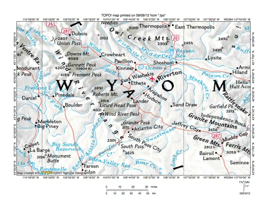 Popo Agie River-Big Sandy River drainage divide area ... Contenintal Divide Detailed Map Of Wyoming on
