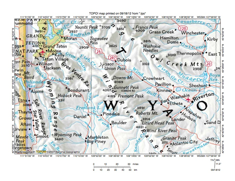 Wind River Range Wyoming Map.Wind River Gros Ventre River Drainage Divide Area Landform Origins