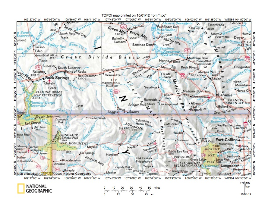 North Platte RiverLittle Snake River drainage divide area
