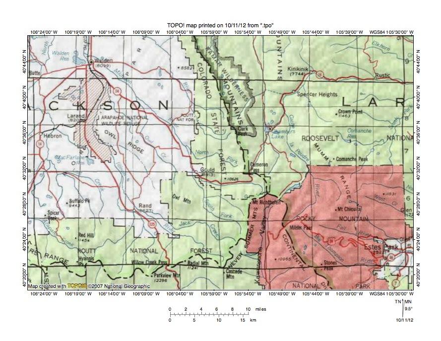 Michigan River-Colorado River drainage divide area landform ...