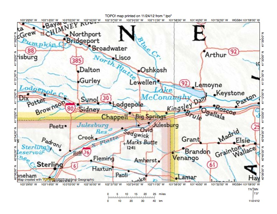 North Platte RiverSouth Platte River drainage divide area