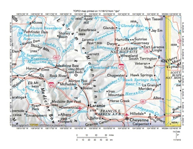 Map of Wyoming Medicine Bow River In