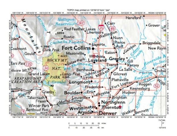 Cache La Poudre RiverBuckhorn Creek Drainage Divide Area