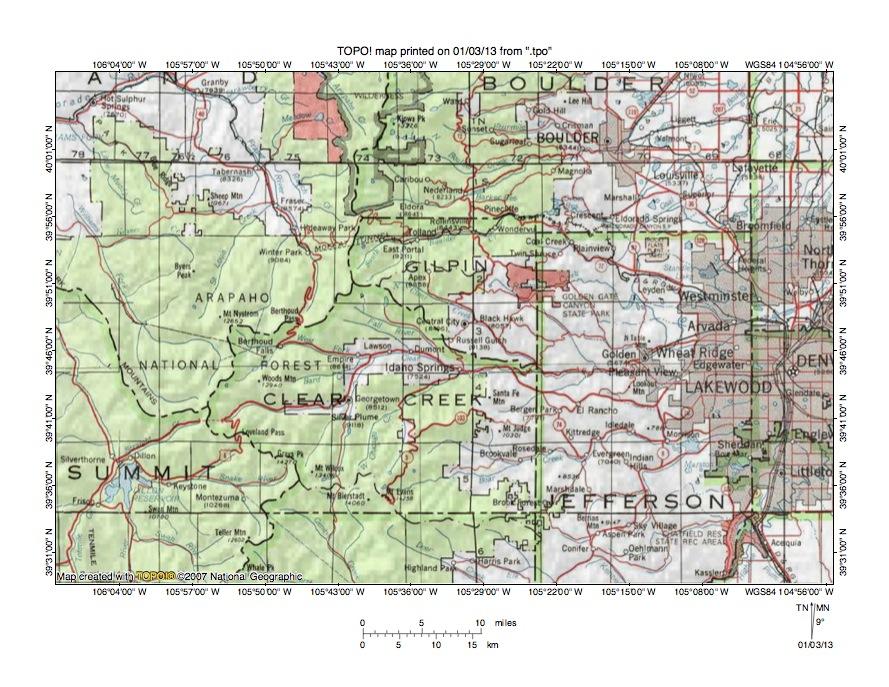 Colorado RiverClear Creek Drainage Divide Area Landform Origins - Colorado river on us map